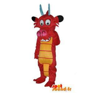Mascotte de bœuf rouge et jaune - déguisement bœuf