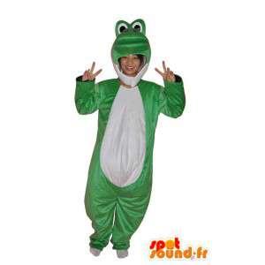 Pehmo sammakko maskotti vihreä ja valkoinen - MASFR004071 - sammakko Mascot