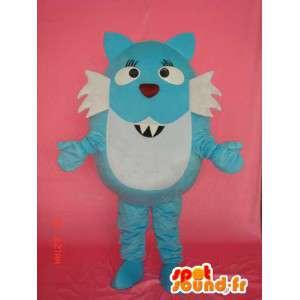 Blauwe en witte cat suit - blauwe en witte kat kostuum