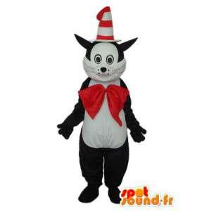 Kissa naamioida kartio hattu ja punainen rusetti