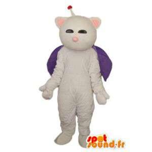 Antena traje do gato branco e um manto violeta