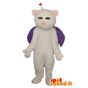White Cat Costume antenne og fiolett kappe