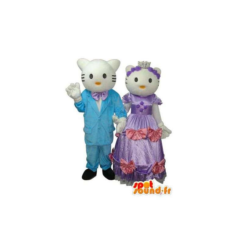 Duo de mascottes représentant Hello et Daniel - MASFR004114 - Mascottes Hello Kitty