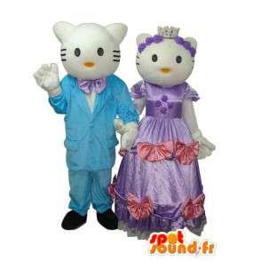 Duo mascottes vertegenwoordigen Hallo en Daniel - MASFR004114 - Hello Kitty Mascottes