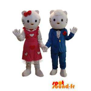 Duo mascottes vertegenwoordigen Hallo en vriendje - MASFR004117 - Hello Kitty Mascottes
