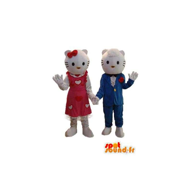 Hello duo mascots representing and her boyfriend - MASFR004117 - Mascots Hello Kitty