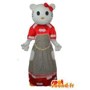 Puku Hei edustaja punaisessa mekossa