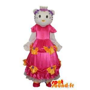 Hola representante de vestuario en el vestido rosa