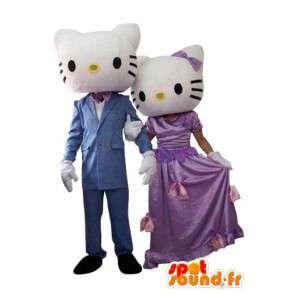 Duo de mascottes représentant Hello et son fiancé - MASFR004121 - Mascottes Hello Kitty