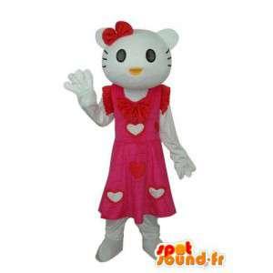 Kostume, der repræsenterer Hello i lyserød kjole med hvide