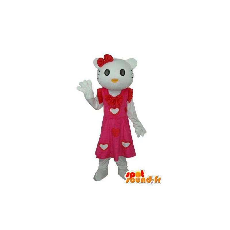 Costume représentant Hello en robe rose à cœurs blancs - MASFR004122 - Mascottes Hello Kitty