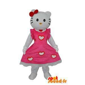 Maskot Hello v růžových šatech - přizpůsobitelný - MASFR004128 - Hello Kitty Maskoti