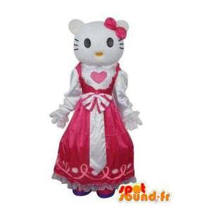 Mimmy mascot, sister twin Hello, in pink dress - MASFR004130 - Mascots Hello Kitty