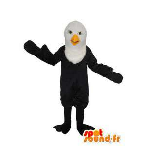 Maskot černý pták s bílou hlavou - přizpůsobitelný