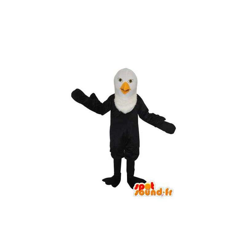 Mascotte d'oiseau noir à tête blanche - Personnalisable - MASFR004165 - Mascotte d'oiseaux