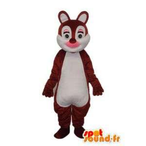 La mascota del ratón de color marrón y blanco - Disfraz de ratón