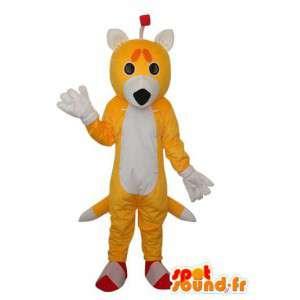 Keltainen ja valkoinen doe maskotti - Doe valepuvussa - MASFR004211 - Stag ja Doe Mascots