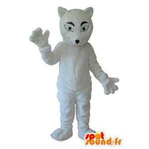 Mascotte effen witte muis - - Muis kostuum