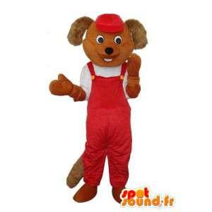 Mascotte de souris marron - pantalon à bretelles rouge