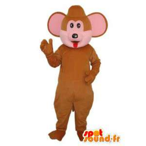 Mascotte del mouse marrone e rosa - costume del mouse