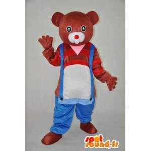 Brun och röd björnmaskot med byssbyxor - Spotsound maskot