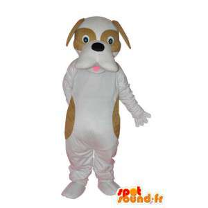 Blanco mascota perro, manchas marrones - Traje de perro - MASFR004247 - Mascotas perro