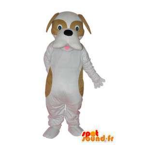 Valkoinen koira maskotti, ruskea tehtävät - koira puku - MASFR004247 - koira Maskotteja