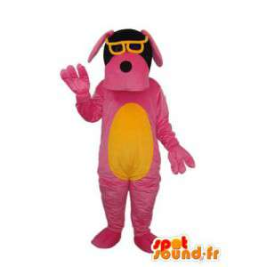 Roze en Yellow Dog Mascot - paar gele bril - MASFR004250 - Dog Mascottes