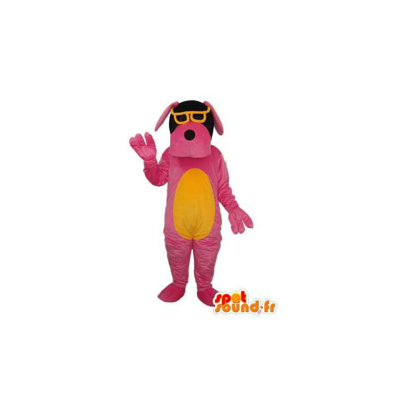 Hund Maskottchen rosa und gelb - Paar gelbe Gläser - MASFR004250 - Hund-Maskottchen