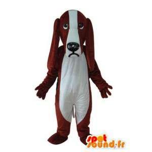 Brun och vit hundmaskot - hunddräkt - Spotsound maskot