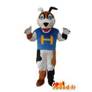 Brązowy pies kostium, biały i czarny - niebieski T-shirt - MASFR004259 - dog Maskotki
