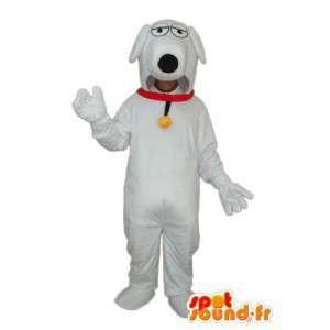 Stary biały pies maskotka Brytania - garnitur psa - MASFR004261 - dog Maskotki