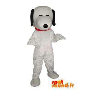 Vanlig vit hunddräkt - svarta öron - Spotsound maskot