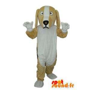 Beige og hvid plys hundemaskot - Spotsound maskot
