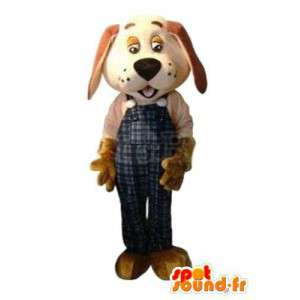 Dog mascot beige with blue pants with suspenders - MASFR004274 - Dog mascots