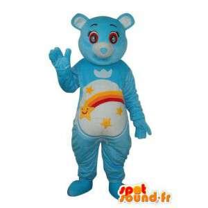 Blauwe muis mascotte hemel - regenboog lucht en sterpatronen