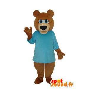 Mascotte d'ours marron avec t-shirt bleu ciel - MASFR004286 - Mascotte d'ours