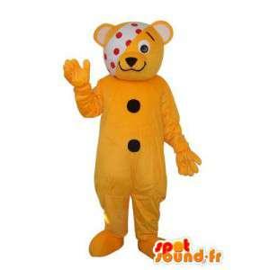 Maskotti Bear Pehmo keltainen kaksi mustaa pistettä - MASFR004304 - Bear Mascot