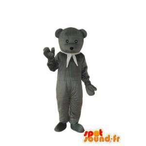Maskot litt grå bjørn med hvitt skjerf  - MASFR004312 - bjørn Mascot