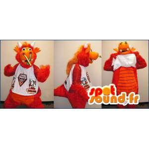 Orange Dinosaurier-Kostüm mit Hörnern und behaart - MASFR004339 - Maskottchen-Dinosaurier