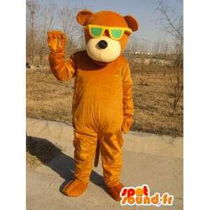 Mascotte ours marron avec lunettes vertes - Peluche en coton