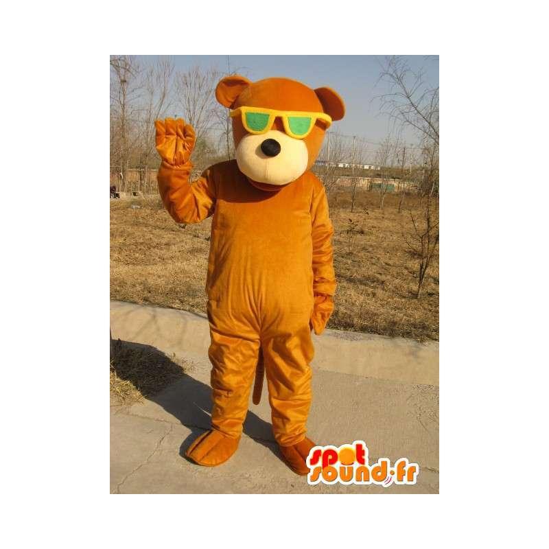 Braunbär-Maskottchen mit grünen Gläsern - Plüsch-Baumwolle - MASFR00328 - Bär Maskottchen