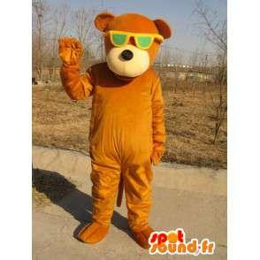 Μασκότ καφέ αρκούδα με τα πράσινα γυαλιά - βελούδινα βαμβάκι - MASFR00328 - Αρκούδα μασκότ