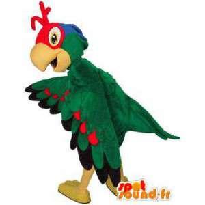 Mascota de aves multicolores.Traje de pájaro de colores