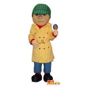 Detective mascotte cappotto giallo e berretto verde - MASFR004505 - Umani mascotte