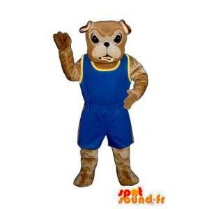Mascote bege cão vestido em esportes azuis - MASFR004512 - Mascotes cão