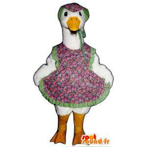 Goose mascot dressed in a flowered dress - MASFR004517 - Mascots of plants
