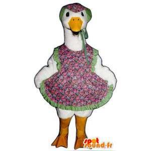 White Goose-Maskottchen in geblümten Kleid gekleidet - MASFR004517 - Maskottchen der Pflanzen