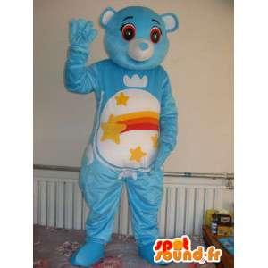 Mascotte Ours bleu étoilé - Peluche ourson en costume pour soirée