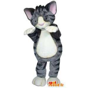 Μασκότ γκρι γατάκι. Στολή γατάκι